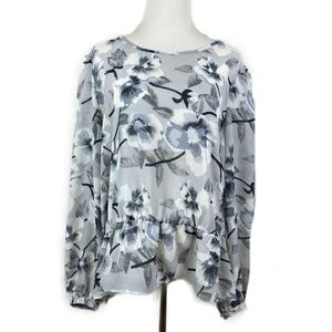 NY Collection XL Blouse Top Floral Semi Sheer Gray
